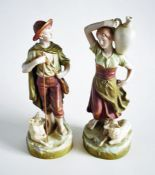 Pair of Royal Dux 'Shepherd and Shepherdess' Figurines c1910
